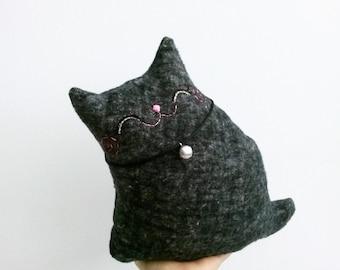 Stuffed Black Cat, Cat Decor, Plush Cat, Grey Cat Softie, Toy Cat, Doll Cat, Stuffed Animal, Gift For Cat Lover - Kitty Coal