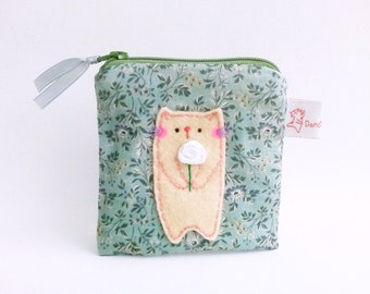 Cat coin purse cute coin pouch small change purse romantic gift for girlfriend for mum cat with flower flower zipper purse