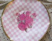 upcycled vintage metal plate hand painted pink courtly checks mod-podge roses decor