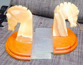 Vintage horse head book ends carved marble onyx southwest kitsch