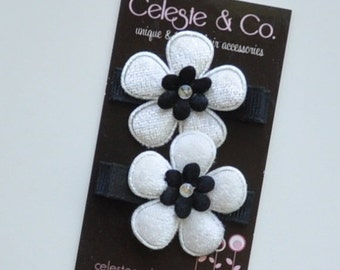 Hair Bow Clips - Precious Pair - Black and White Flowers - Alligator Clips - Newborns, babies, Infants, Toddlers and Girls