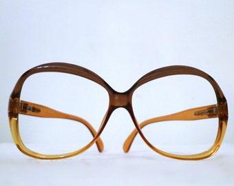 Big Vintage 80s Khaki Amber Pop Mod Eyeglasses / Sunglasses/ Frame Germany / Victory Optical Bug Eye Granny Hip Hop Mod Def Disco