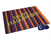 Happy Halloween Stripe - Tempered Glass Bar & Kitchen Cutting Board