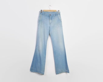 Vintage 70s BELL BOTTOMS / 1970s Super Light Wash Blue Denim Distressed Bells High Waist Jeans S