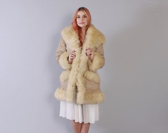 Vintage 70s SHEEPSKIN COAT / 1970s Ultra Warm Natural Tan Thick Boho SHEARLING Fur Winter Leather Jacket xs - s