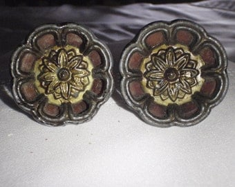 Vintage Drawer Pulls or Door Handle In Brown - Two Of A Kind