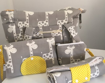 XL Grey Giraffe Nappy Bag, Nappy Mat Nappy Wallet and Dummy Pouch - Yellow Pocka Dots for Closures USE mishmash16 to get 15% off your order