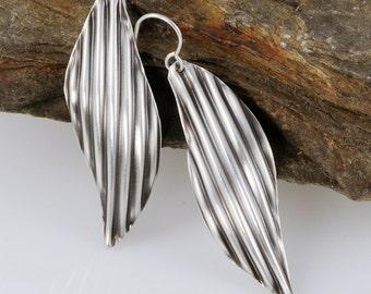 Sterling Silver Leaf Earrings, Eco Friendly Silver Earrings, Lightweight Earrings, Black and White Earrings