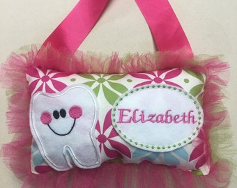 Embroidered personslized Tooth Fairy Pillow with chart