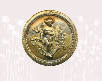 Button--Late 19th C. Cast Brass Putto, Cherub, or Fairy--Your Pick--Medium