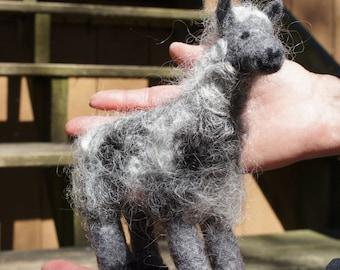 Llarry the Curly Grey Needle Felted Llama