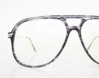 ON SALE Vintage 1980s Mens Grey Eyeglasses Slate Light Charcoal 80s Aviator Glasses Sunglasses Deadstock NOS New Old Stock Indie Hipster