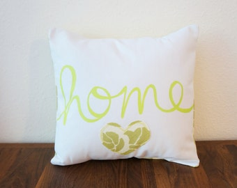 SALE!! Light Green 'Home' Pillow Cover (14 inch) (original price: 35.00)