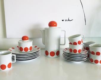 Vintage Schirnding Bavaira Polka Dot Dish Set made in Western Germany