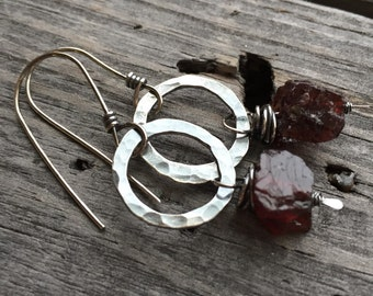 Innocent Earrings Sterling Silver and Specimen Garnet Stones Handmade Wild Prairie Silver