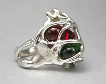 RING, STERLING, FREEFORM Ring, size7,captured Red and Green Beads, ooak, size 7, 22 mm long and 15mm wide, Cast, Polished to a High Shine