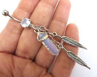 Belly Button Ring Jewelry Barbell Opal Quartz Crystal Point Dangle Opalite Feather Crystal Navel Bar Piercing Charm