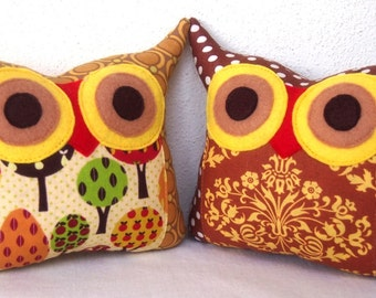 Sale/Set of two /Olive /tree/kid room decor/TWO/Polyfil Stuffed little owl pillows decoration/collection - Ready to ship