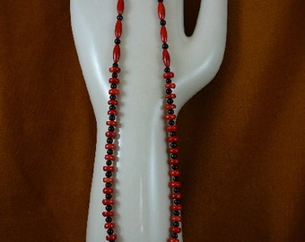 18 inch long 7x4 mm red bamboo coral with black onyx beaded Necklace jewelry V30-51