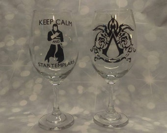 Assassins Creed Wine Glasses Set of 2 Regular and Stemless