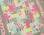 OWL SCHOOL Modern Owl and Birdhouse Quilt Top 42 x 52 - Pink - Aqua - Grey - 3 Wishes fabric