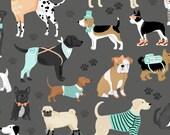 DOG LOVERS by Clothworks Fabrics - Dark Grey Dogs Allover # Y1996-07 - Dog Quilt Fabric - By the Yard - Puppy fabric - aqua and grey