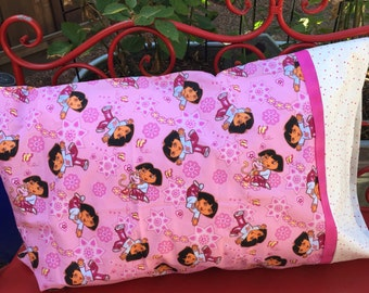 DORA Pillowcase - 1 each- - dora the explorer pillowcase - standard pillowcase - jumbo pillowcase
