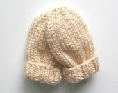 Baby Mittens 3 to 12 Months Infant, Ready To Ship, Hand Knit Warm Winter Wear Thumbless Mitts, Ivory Cream Beige, Baby Boy Baby Girl Mittens