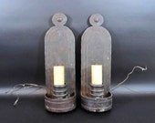 Vintage Pair of Wall Sconces in Arts and Crafts Style. Cast Iron.