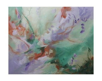 Original Mixed Media Expressionist Art Abstract Painting. Musing141. green violet burnt sienna Contemporary Modern