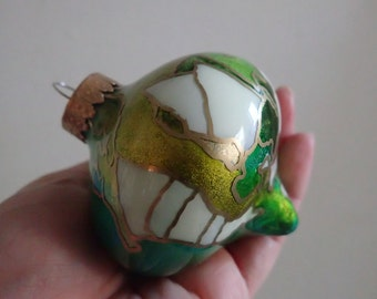 Christmas Ornament - Modern, Abstract Hand Painted Glass