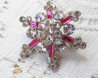 Vintage Pink and Clear Rhinestone Snowflake Pin / Brooch / Broach, Rhinestones, Winter, Shabby, Chic