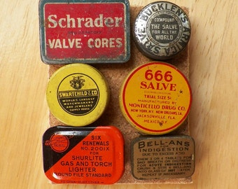 Colorful Unique Mini Vintage Tins Thumbtacks / Push Pins / Office Gift, Authentic Miniature Tins, Salesmen Sample Tins, Salve, Tablets