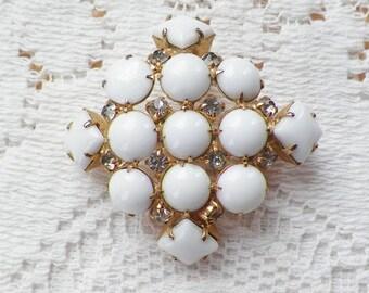 Vintage Square Shaped Milk White Glass and Clear Rhinestone Brooch / Pin / Broach, Diamond Shaped, Gold Tone Metal, Bride / Bridal / Wedding