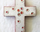 ORIGINAL ART CROSS, Service Cross, Red Cross, Service, Vintage Red Cross, Neighbor, Service Professional, Christian Art, Christian Gift