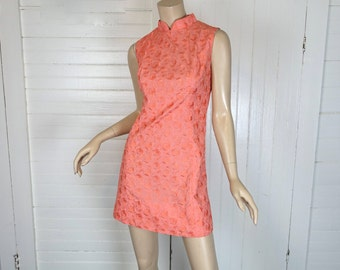 60s Mini Dress in Coral- 1960s- Sleeveless & High Neck- Pink / Peach- Embroidered Fabric- Small