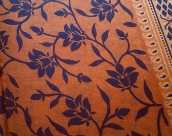 Floral Block Print Fabric By The Yard, Brown Printed Indian Fabric, Lotus Print Fabric, Floral Print Indian Cotton, Saree Fabric By The Yard