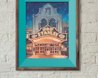 Stanley Theater Matted and Signed Print, Utica NY art, Stanley Theater Utica, Building Art, Illustration, Old architecture
