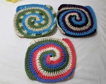 Set of 3 Hand Crocheted Cotton Spiral Dish or Wash Cloths