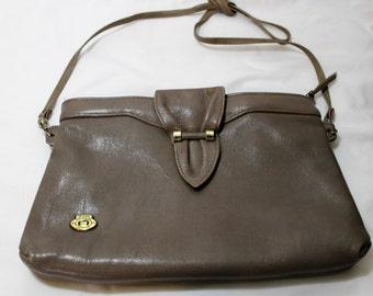 Vintage ETIENNE AIGNER Taupe Leather Crossbody Shoulder Bag