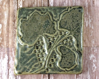 "Pottery Tile, Grape Leaves, Ceramic Tile, Handmade Tile, Decorative Tile, Bathroom Decor, Kitchen Decor, Botanical Decor, 4"" x 4"" - 957"