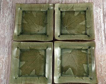 Handmade Pottery Snack Plate Set -  Medium Sandwich Plates - Maple Leaves - Green - Set of 4 Plates - 619
