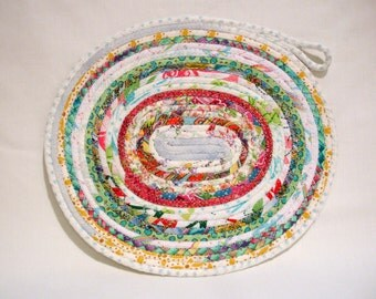 Handmade Party Fun Coiled Fabric Candle Mat, Table Mat