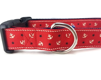 Dog Collar, Red Anchors, 1 inch wide, adjustable, quick release, metal buckle, chain, martingale, hybrid, nylon
