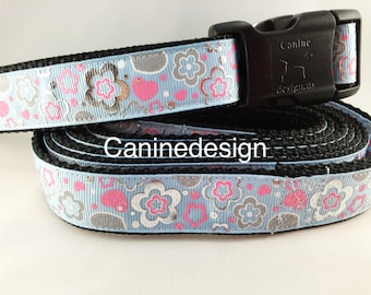 Dog Collar and Leash, Topaz Flowers, 6ft leash, 1 inch wide, adjustable, quick release, metal buckle, chain, martingale, hybrid, nylon