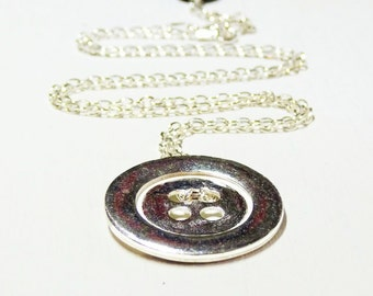 Gifts for her - sterling Silver Button Design Necklace
