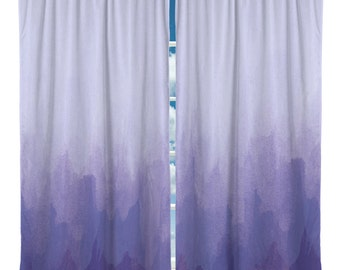Purple Watercolor Window Curtains - Custom Any Size - Any Colors - Can Personalize