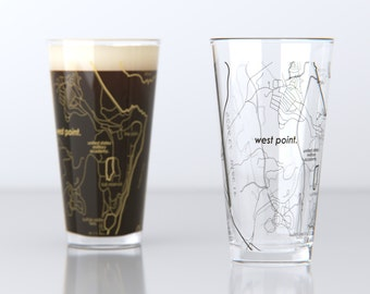 West Point, NY - Army - College Town Pint Map Glasses