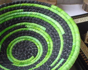 Lime Green and Black Coiled Fabric Basket - Catchall, Organizer, Bread Basket, Handmade by Me