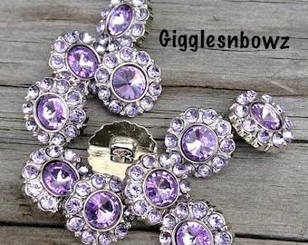 Lavender Rhinestone Buttons- 15mm Rhinestone Buttons-  You Choose Quantity- Headband Supplies- Diy Wedding- Brooch Bouquet- Sewing Button